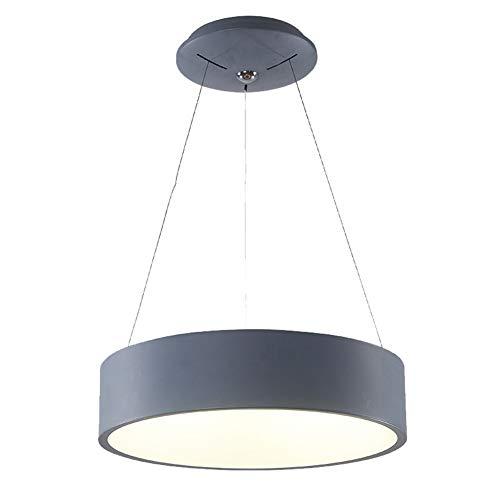 JUNYYANG Modern Art LED 55W Lámpara Del Techo Isla Anillo De Ajuste Decorativo Diseño Lámpara De Mesa Lámpara De Araña De Metal Colgando Lámpara Viva Dimmin Tricolor Acrílica (Color : Grey)