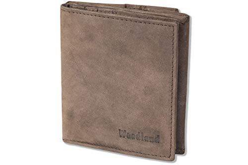 Woodland® Kleine Geldbörse mit großem Hartgeldfach (Wiener Schachtel) aus naturbelassenem, weichem Büffelleder in Dunkelbraun/Taupe