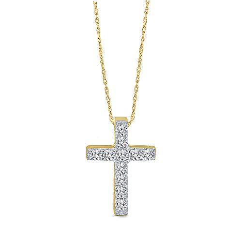 Elmas 1/10ct Round White Diamond Cross Pendant in 10K White Gold Diamond Cross Pendant Necklace for Womens Teens (Yellow)