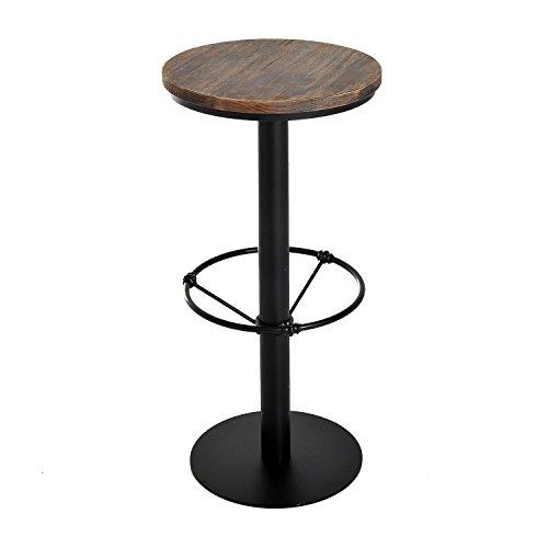 HOMCOM 42 Rustic Industrial Metal Pine Wood Top Bar Height Adjustable Standing Pub Table