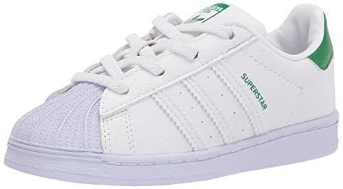 adidas Originals Kids Superstar Shoes Sneaker, White/White/Green, 7 US Unisex Toddler