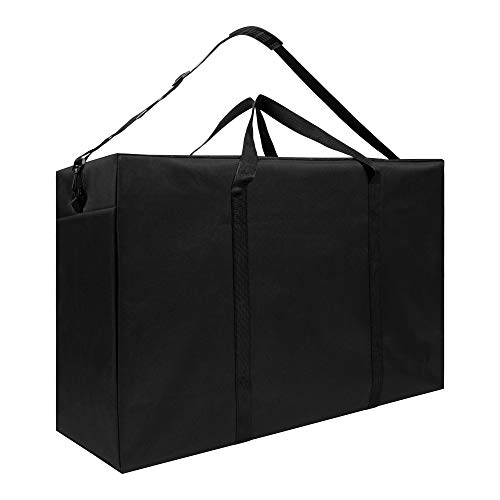 SANCTOME Large Heavy Duty Waterproof Black Storage Bags With Zips | Perfect For Laundry Bag, Underbed Storage Bags, Clothes Storage Bags, Travel Bag | Clothes Storage 155L Capacity (Black)