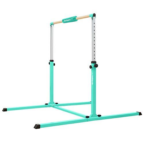 Springee Adjustable Height Team Gymnastics Bar - Gymnastics Equipment for Home - Kip Bar (Teal)