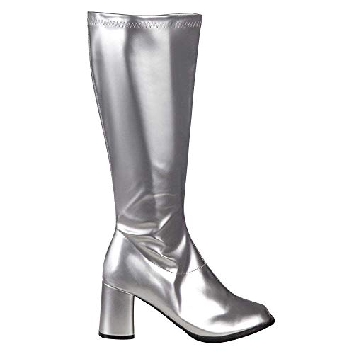 Boland 46282 - Stiefel Retro, Silber, langer Schaft, Synthetik, Blockabsatz 8 cm, Reisverschluss, Spacy, Schlager, cooler Look, Karneval, Halloween, Fasching, Mottoparty, Theater, Accessoire