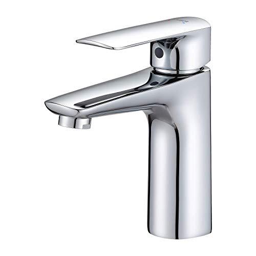 KAIBOR Chrom Waschtischarmatur für Bad, Einhebelmischer Wasserhahn Bad mit Auslauf Höhe 104mm, Waschbecken Armatur OHNE Zugstange, Einhand-Waschtischbatterie Badarmaturen