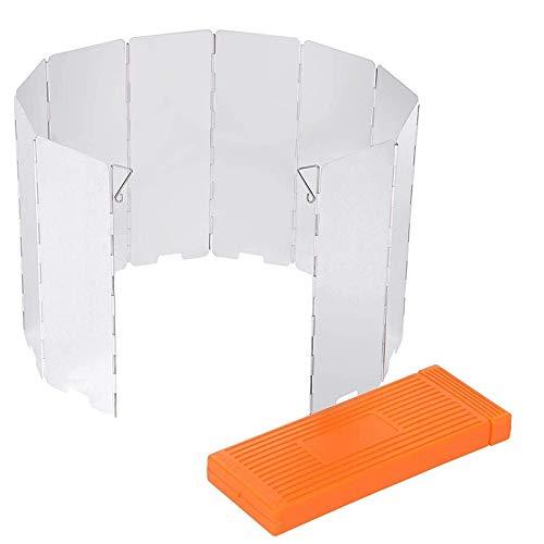 Dasing 10 placas de protección contra el viento y el viento, ligeras, plegables, con caja de almacenamiento para picnic, barbacoa al aire libre, color plateado
