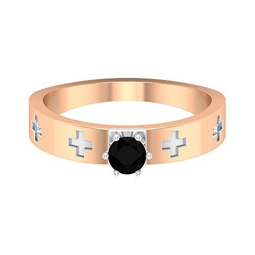 Conjunto de 6 puntas de 1/3 quilates anillo de compromiso de diamante negro, anillo de diamante solitario para mujer, anillo de apilamiento de metal mixto, 18K Oro rosa, Size:EU 69