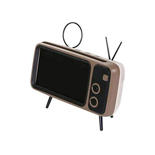 EDCV Bluetooth Bass-luidspreker Houder voor mobiele telefoon Stand-luidspreker Retro fotolijst 3 in 1 draadloze luidspreker Retro TV Mini Portable, 1
