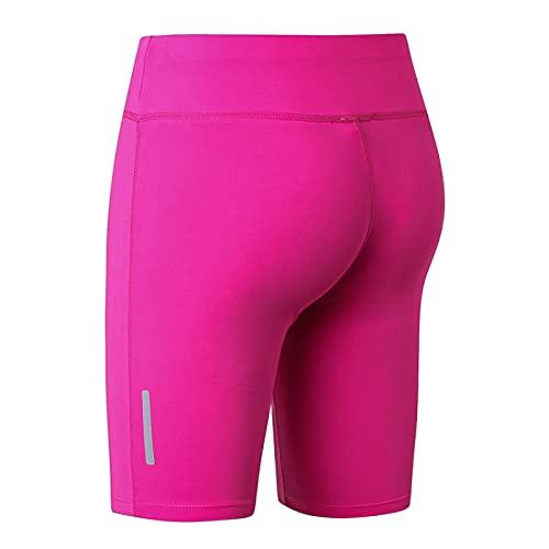 Huntrly Pantalones Cortos de Mujer Moda Simple Color Puro Ocio Fitness Pantalones Cortos de Yoga Deportes Correr Pantalones de Cinco Puntos Ajustados de Secado rápido L