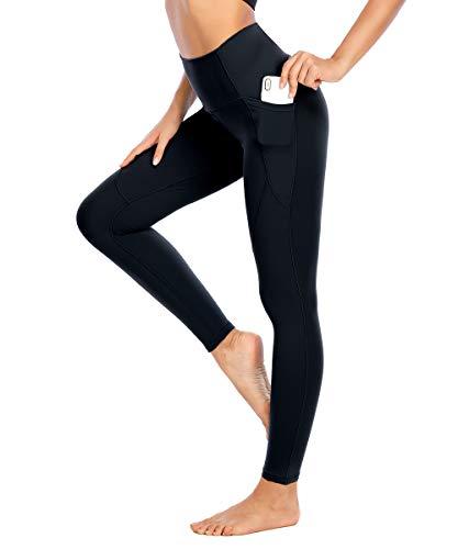 Yaavii Damen Sport Leggins mit Taschen Lange Blickdicht Sporthose Yogahose Sport Tights mit Pfirsich Design Schwarz2 S