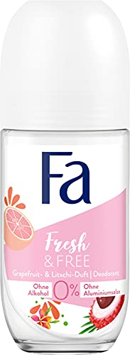 Fa Deo Roll-On Fresh & Free Grapefruit & Litschi ohne Alkohol, ohne Aluminiumsalze, 48h Schutz, 50 ml