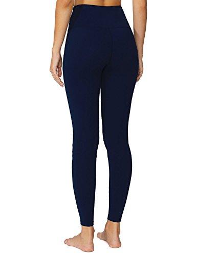 Baleaf Women's High Waist Yoga Pants Non See-Through Fabric Dark Navy Size M