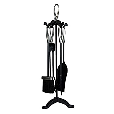 simpa Fireplace 5PC Companion Sets - Stylish Range of Fireplace Tools: Choose from Clarendon, Haft & Knightsbridge Designs - Sets include: Brush, Shovel, Tongs, Poker and Stand.