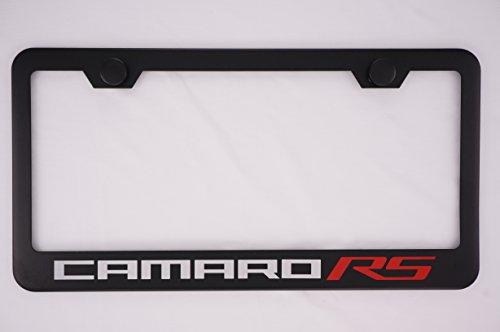 Fit Chevrolet Camaro RS Matt Black Liecnese Plate Frame with Caps