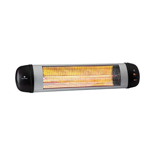 blumfeldt Rising Sun Zenith Infrarotheizung - Terrassenheizstrahler, 850, 1650 und 2500 Watt, IP34, Abschalttimer, LED-Anzeige, Decken- oder Wandmontage, inkl. Fernbedienung, schwarz-Silber