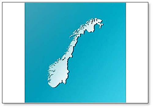 Imán para nevera con diseño de mapa de Noruega (azul)