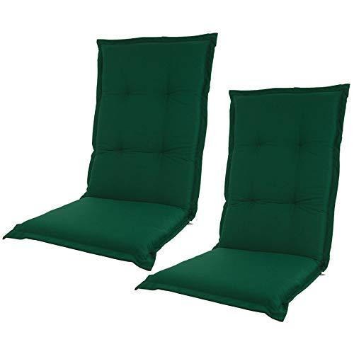 Kopu® kussen Prisma Forest Green met hoge rugleuning 2 stuks | Tuinkussens voor tuinstoelen | Forest Green tuinkussens 125 x 50 cm | Stevig schuim voor extra comfort | Kussens met teflonlaag