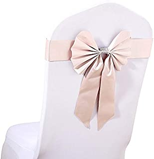 BalsaCircle 100 pcs Dusty Rose Reversible Satin Faux Leather Bow Tie Chair Sashes with Buckles - Wedding Party Reception Decorations