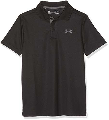 Under Armour Boys' Performance Polo, Black /Rhino Gray, Youth Large