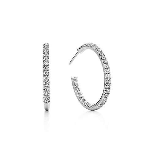 Creolen Silber und Creolen Gold mit Steinen. Ohrringe Damen aus 925 Sterling Silber und 14K Gold und Weissgold Plattierung. Handgearbeitete Ohrstecker, designed in Deutschland.