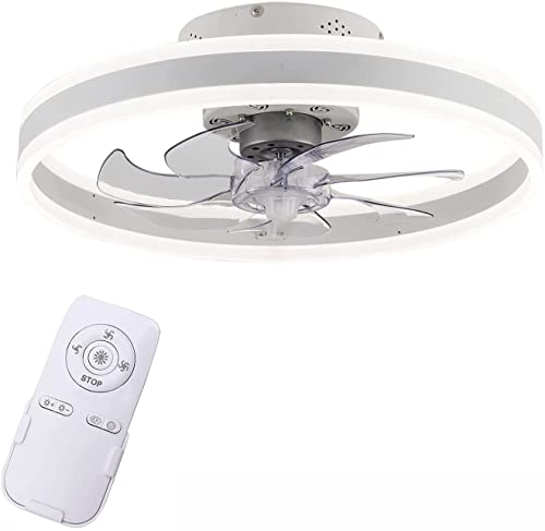 Indoor Flush Mount Ceiling Fan with Lights Modern Ultra- thin LED Lighting Fan with Remote Control Low Profile Ceiling Fan for Bedroom Living Room(20inch, Type B) (Color : Type C)