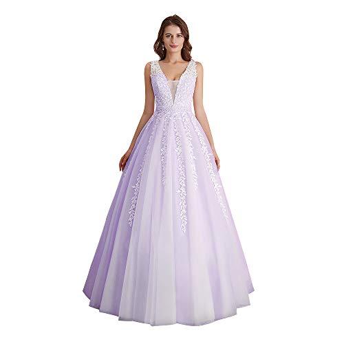 Abaowedding Women's Wedding Dress for Bride Lace Applique Evening Dress V Neck Straps Ball Gowns Lavender US 12