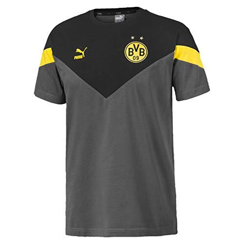 PUMA BVB Iconic MCS tee Camiseta, Hombre, Asphalt Black, S