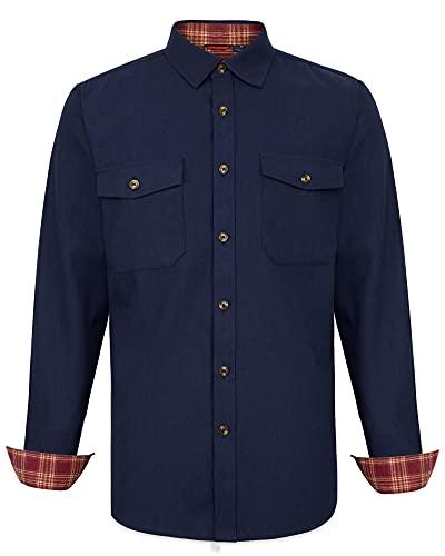 J.VER Camisas de Cuadros Hombre Manga Larga Algodon Brushed Camisa Franela Hombre Cálida Casual Leñador Invierno Regular Fit Azul 5XL