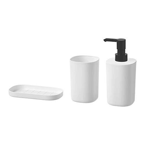 IKEA STORAVAN Juego de 3 piezas de baño con vaso para cepillos de dientes, dispensador de jabón, jabonera
