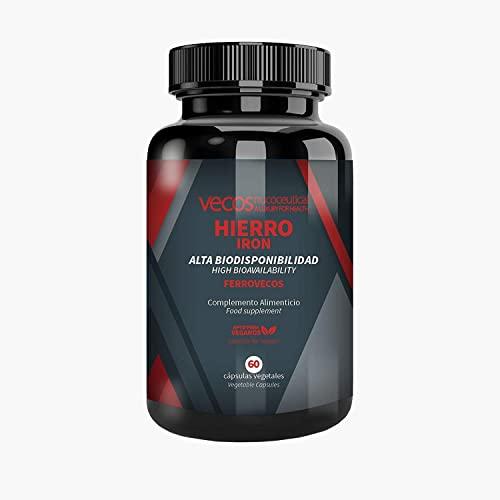 Hierro con ácido fólico y tecnología liposomial de alta biodisponibilidad para proteger de la irritación intestinal – Vitaminas A, B6, B12 y C para una mayor absorción –Aptas para Veganos– 60 cápsulas