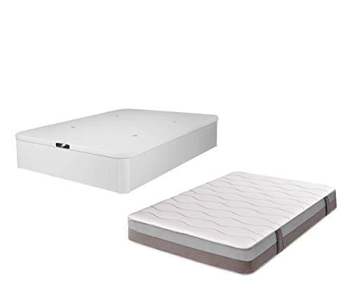DHOME Pack Colchón viscografeno, Reversible + Canape abatible tapizado 3D Blanco Madera Conjunto (105x190, Colchón 23cm + Canapé Abatible)