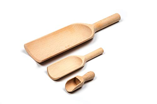 GOOD-WOOD|Wood Scoops|Used For Scooping Different Food, Different Scoop Sizes For Different Food|Lightweight, Non Stick, Easy To clean, Different Sizes For All Customer Needs |Mix Include 3 pcs