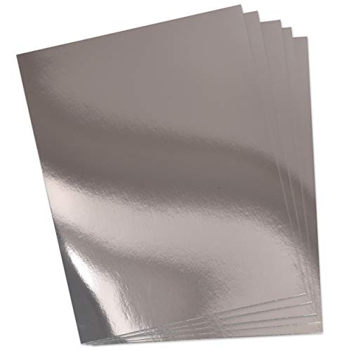 60 Silver Card stock Mirror Paper Sheets Metallic Foil Board Reflective Sheet for Craft Metal Scrapbook Poster Cardboard Mirrored Embossing Crafts Stock Shiny Material Letter Size 8.5' x 11'