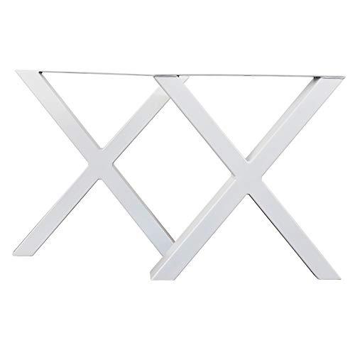 Set 2 Patas de Banco Mesa Acero Hierro, Ideal para Muebles de Comedor Salon Centro Despacho Oficina, Hecho a Mano Forma X, Estilo Industrial Loft Vintage (40 x 43 cm, Blanco)