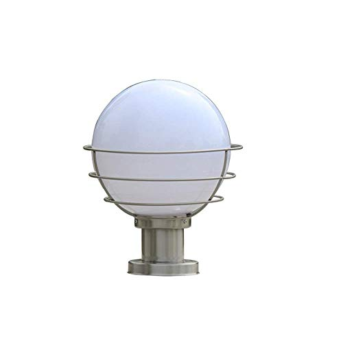 KAUTO E27 Outdoor Waterproof Acrylic Ball Cover Metal Column Headlight Stainless Steel External Landscape Street Light Garden Patio Pedestal Lamp Outside Fence Pole Post Lantern Lighting