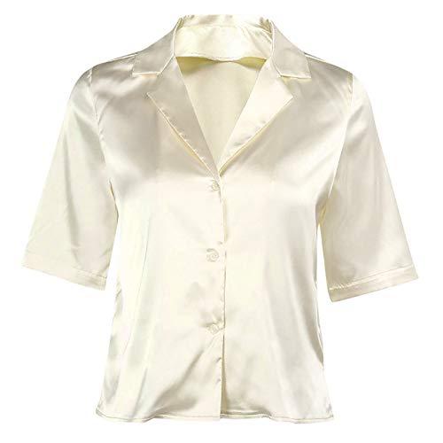 JEATHA Damen T-Shirts Kurzarm Unterhemd aus Satin Bluse mit Knopf Hemd Revers...