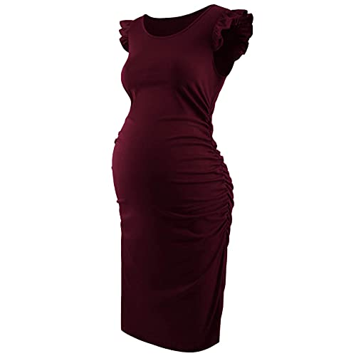 Aiihoo Vestido de maternidad de las mujeres de manga voladora lateral fruncido bodycon vestidos de verano de color sólido casual Sundress