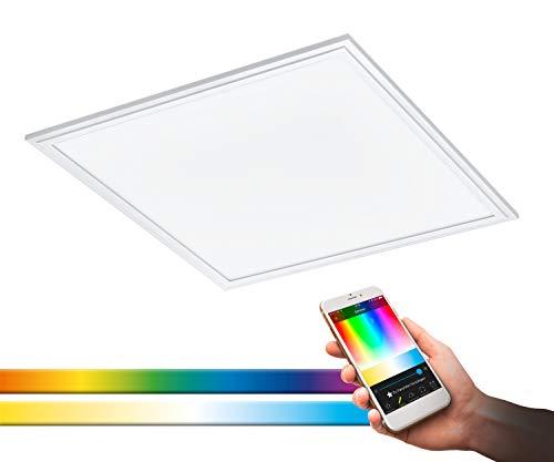 EGLO connect LED Panel Salobrena-C, 1 flammige Deckenlampe aus Alu und Kunststoff in Weiß, LED Deckenleuchte mit Fernbedienung, Lichtfarbe einstellbar (warmweiß – kaltweiß), RGB, dimmbar, L x B 45 cm