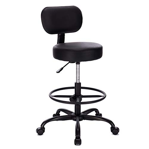 Superjare Drafting Chair with Back, Adjustable Foot Rest Swivel Stool, Multi-Purpose Office Desk Chair, Thick Seat Cushion for Home Bar Kitchen Shop - All Black