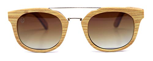 Óculos de Sol Lucchese Brown, Mafia Wood Exclusive Wear, Adulto Unissex, Bege, M