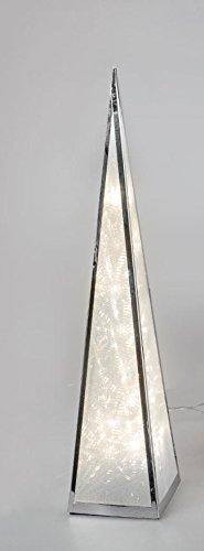 Formano LED Deko-Pyramide aus Metall mit Hologramm Sternfolie drehend beleuchtet 60 cm hoch Weihnachtsdeko Winterdeko Weihnachtspyramide