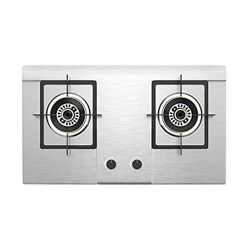 GAXQFEI Cocina de Estufa de Gas, Cocina Integrada en la Placa de Gas con 2 Quemadores Cuadrados, Panel de Acero Inoxidable, Eficiencia Energética Primaria,Gas Licuado
