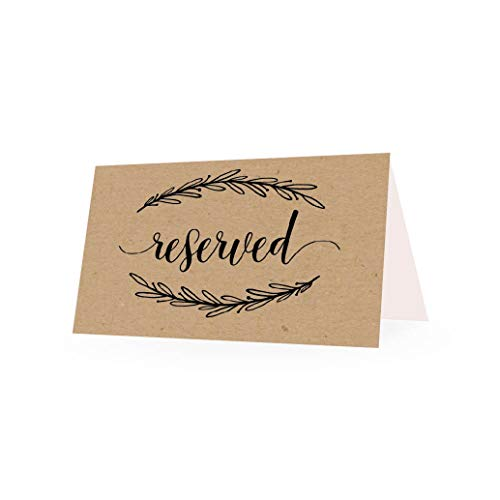 25 Rustic Floral VIP Reserved Sign Tent Place Cards for Table at Restaurant, Wedding Reception, Church, Business Office Board Meeting, Holiday Christmas Party, Printed Seating Reservation Accessories