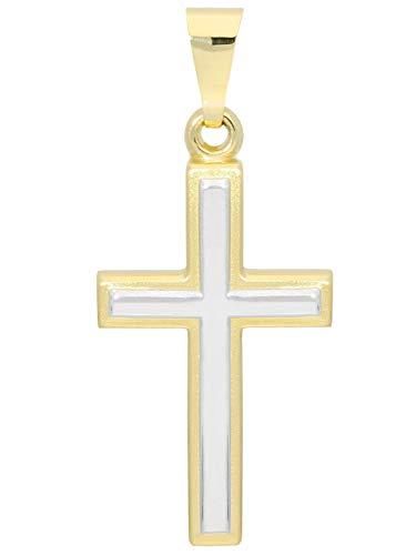 MyGold Kreuz Anhänger (Ohne Kette) Gelbgold Weißgold Weissgold 375 Gold (9 Karat) Bicolor 25mm x 12mm Goldkreuz Kreuzanhänger Luna V0001350