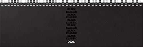BRUNNEN 1077460061 Tischkalender/Querterminbuch Modell 774, 2 Seiten = 1 Woche, 326 x 102 mm, Balacron-Einband bedruckt schwarz, Kalendarium 2021, Wire-O-Bindung