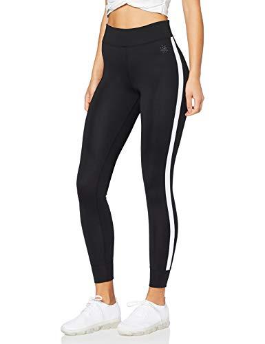 Amazon-Marke: AURIQUE Damen Sport Leggings Side Stripe, Schwarz (Black), 38 (Herstellergröße: Medium)
