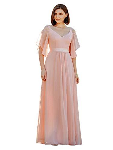 Ever-Pretty Damen Abendkleid Tüll A-Linie schulterfrei rückenfrei Kurze Ärmel V Ausschnitt lang Rosa 42
