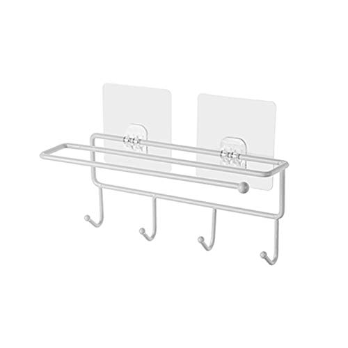 XF Kosmetiktücherboxen Papierhandtuchhalter - Schlagenfreier kreativer Kleberhaken aus Schmiedeeisen-Hygienetuch-Rackreihenhaken-Mantelkappenhaken Halter & Spender (Farbe : Weiß)