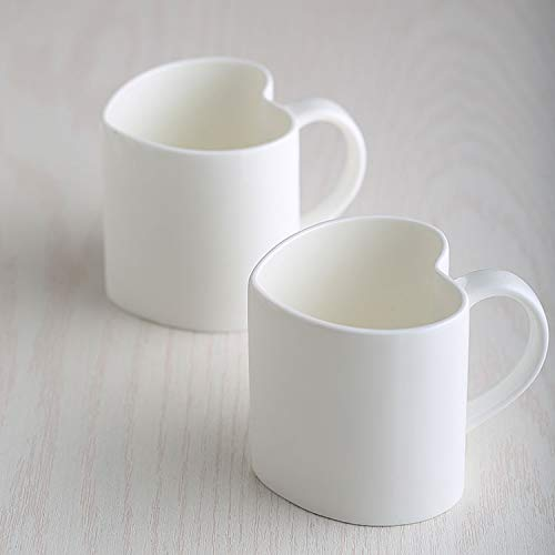 Copa De Vino Taza De Café Taza2Pcs, 420Ml, Plain White Bone China Heart Mug, Lovers Espresso Cups, Porcelain Keep Cup, Tasse Cafe Cute