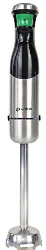 Grunkel - Batidora de mano 800W. Intensidad regulable por gatillo con indicador Led en acero inoxidable y pie desmontable, con 6 cuchillas. Incluye vaso de 600 ml. Modelo MP-800GAT